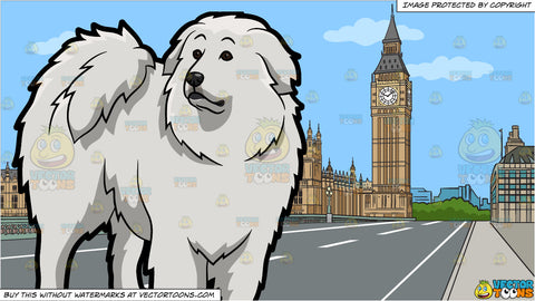 A Curious Great Pyrenees Dog and Big Ben And House Of Parliament Background