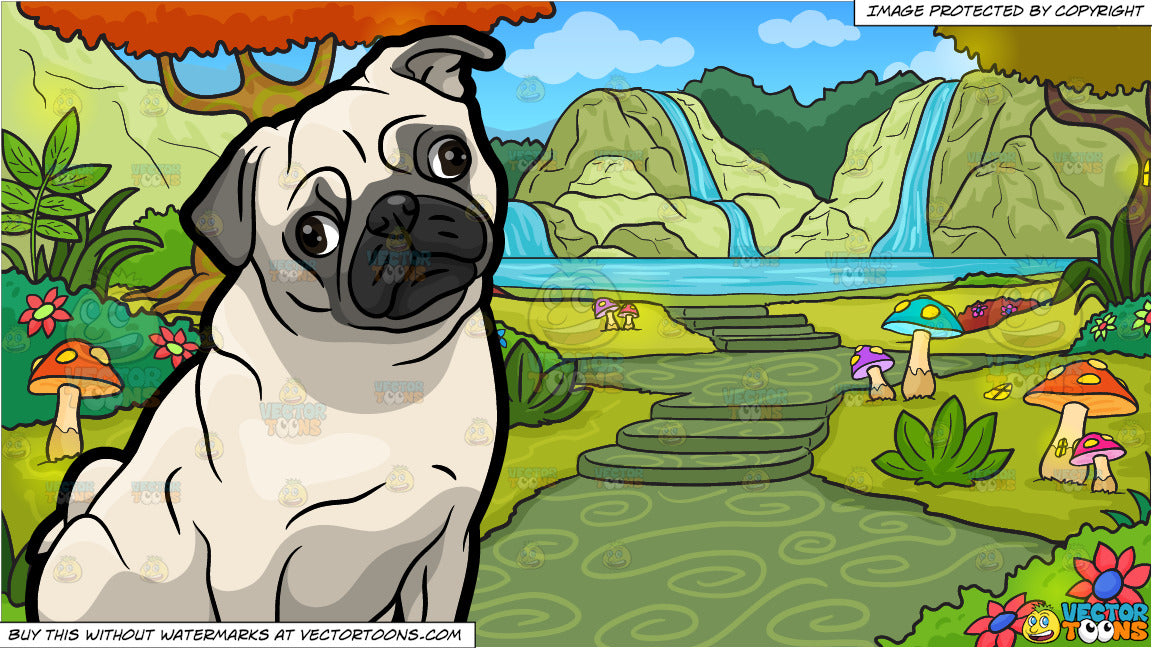 A Curious Little Pug and A Fantasy Fairy Land Background