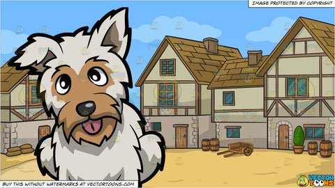 A Curious Yorkshire Terrier and An Old Style Medieval Village Background