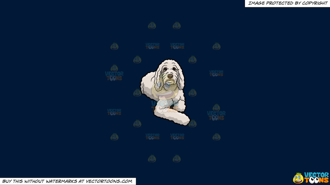 Clipart: A Curly White Dog on a Solid Dark Blue 011936 Background