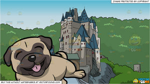 A Cute And Playful Pug Dog Rolling Over and Castle On A Mountain Background