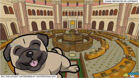 A Cute And Playful Pug Dog Rolling Over and Library Of Congress Main Reading Room Background