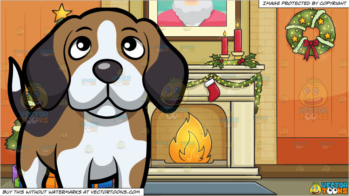 Christmas Beagle Clipart.A Cute Beagle Looking Up At Its Owner And Living Room Decorated For The Christmas Holidays Background