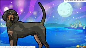 A Cute Coonhound Pet Dog and Mysterious Outer Space Lake Background