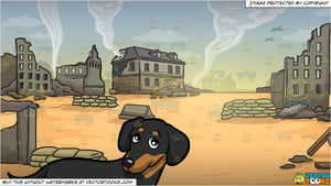 A Cute Dachshund Lifting One Paw Up and War Zone Background