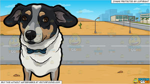A cute dog wearing a bow tie and A Road Running Through A Desert Town Background