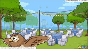A Cute Flying Night Owl And An Outdoor Wedding Reception Background