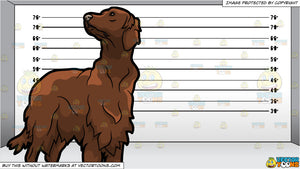 A Cute Irish Setter Pet Dog and A Prison Line Up Background