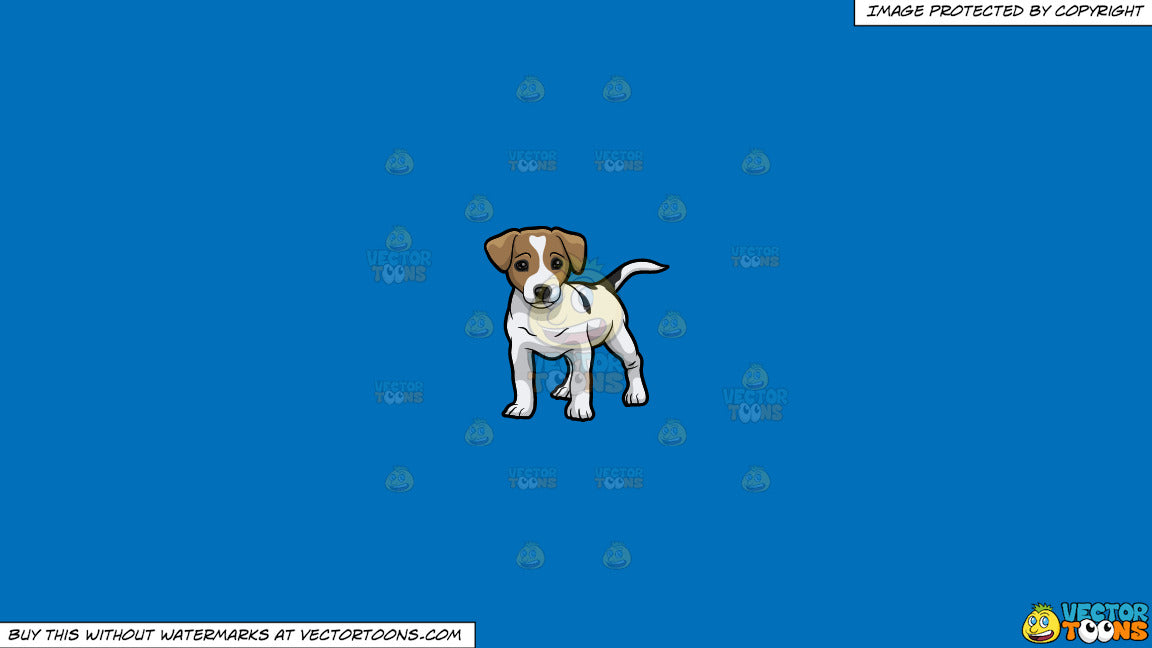 Clipart: A Cute Little Jack Russell Terrier Puppy on a Solid Spanish Blue  016Fb9 Background