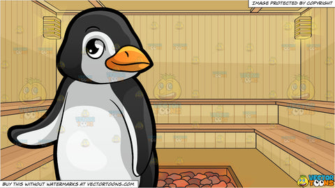 A Cute Little Penguin At The Zoo and Inside A Sauna Background