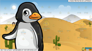 A Cute Little Penguin At The Zoo and Sand Dunes In The Desert Background