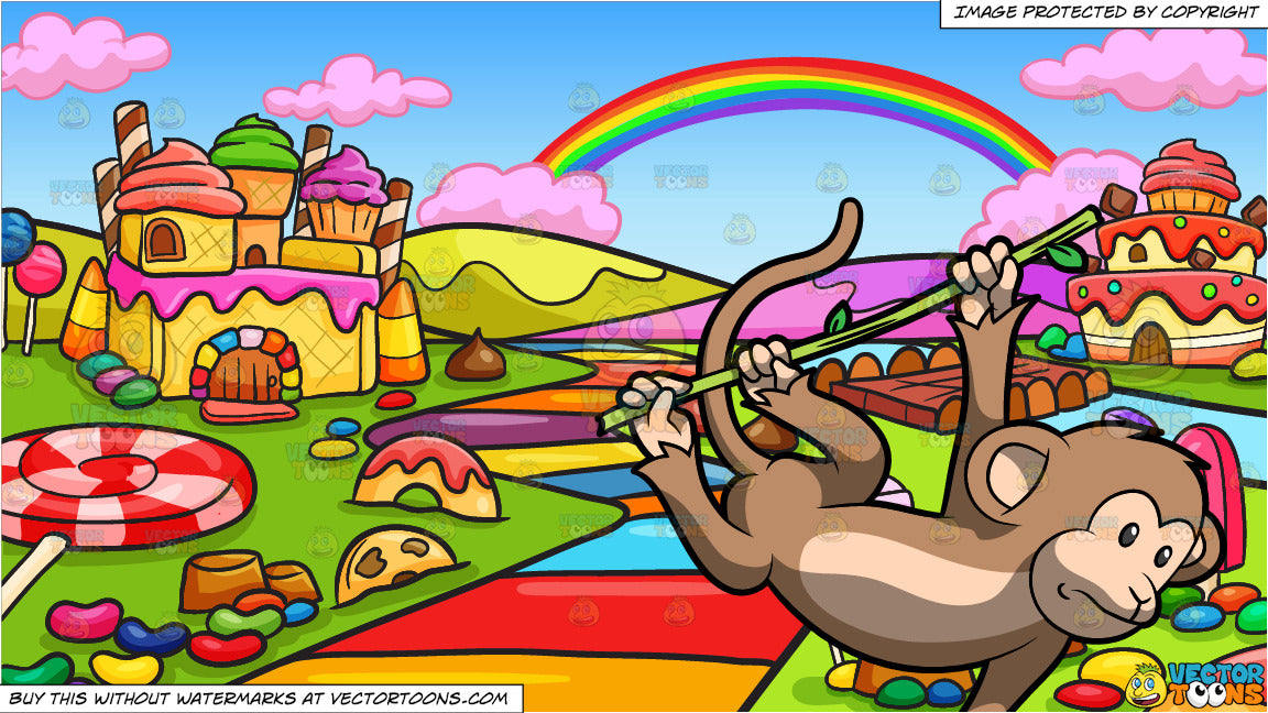 A Cute Monkey Swinging From Tree To Tree And A Candy Land Background