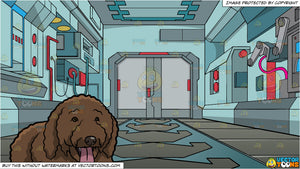 A Cute Spanish Water Dog and Interior Of A Space Station Background