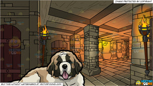 A Cute St Bernard Dog and A Medieval Dungeon Background