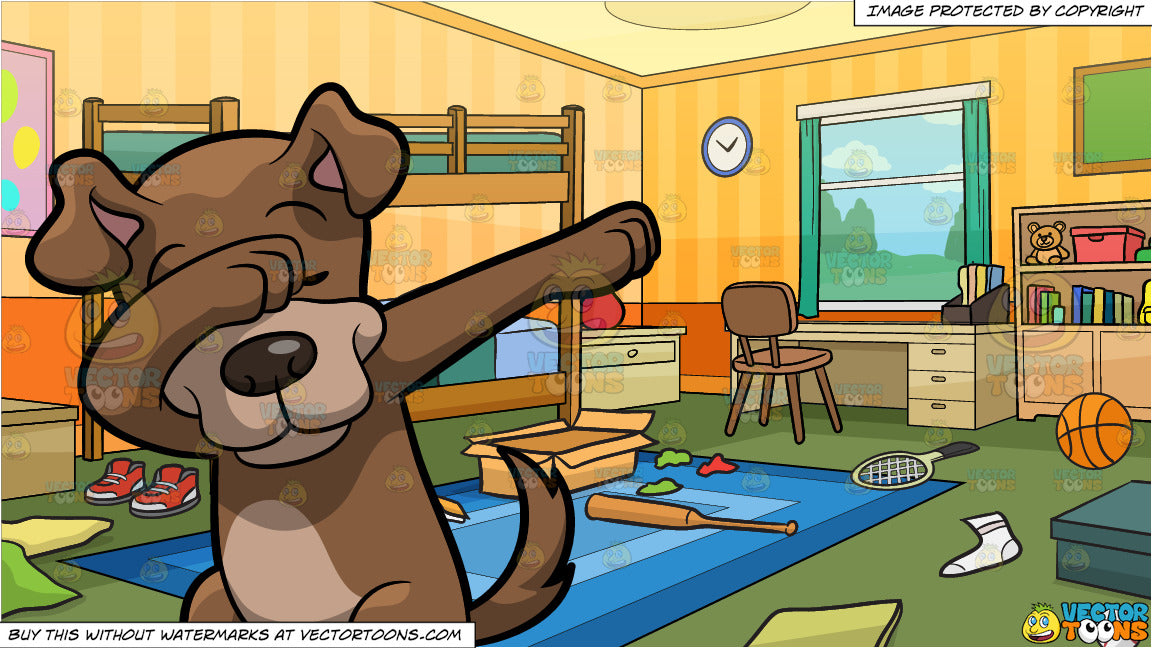 A Dabbing Dog and Messy Kids Bedroom Background