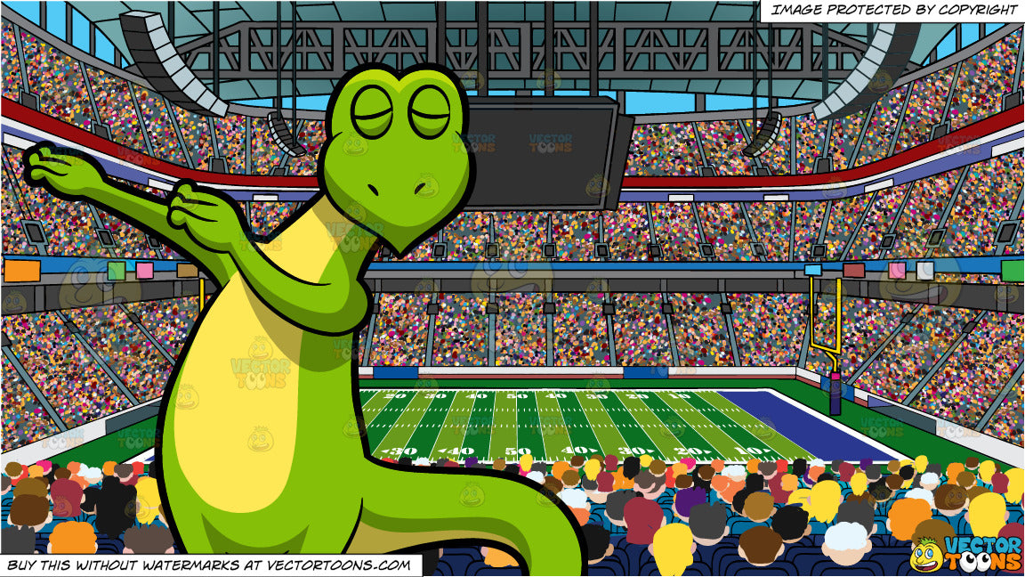 a dabbing lizard and a football stadium background clipart cartoons by vectortoons vector toons