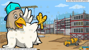 a dancing chicken and a construction site background vectortoons