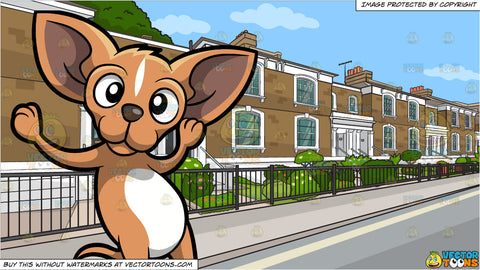 A Dancing Chihuahua and A Row Of Posh Brick Homes Background