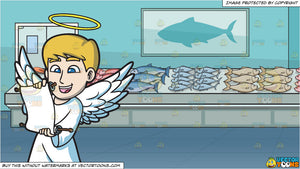 A Delighted Angel Reading From A Scroll and The Fish Section Of A  Supermarket Background