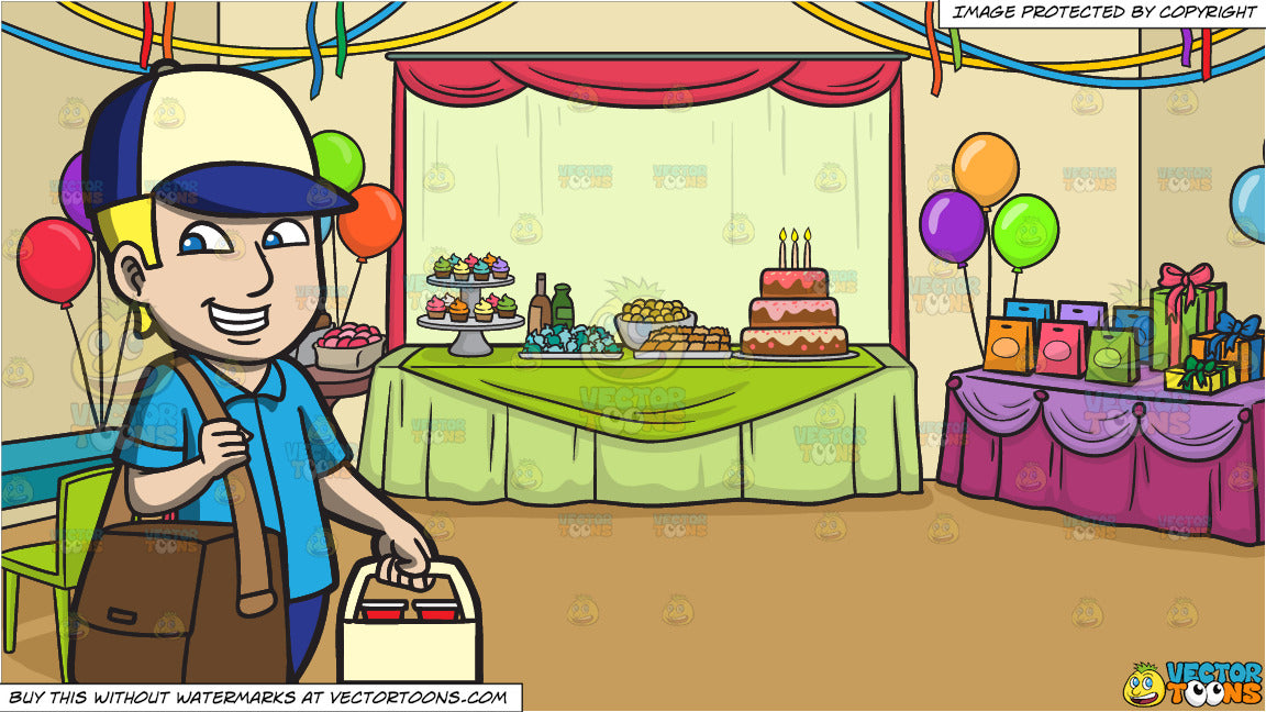 A Delivery Guy Carrying Drinks And A Birthday Party