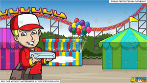 A Delivery Man Bringing A Pizza and An Amusement Park With Roller Coaster Background