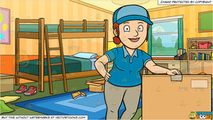 A Delivery Woman Poses Beside A Jumbo Box and Messy Kids Bedroom Background