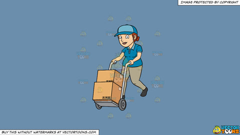Cartoon clipart: a delivery woman pushing a trolley with multiple boxes on a solid shadow blue 6c8ead background