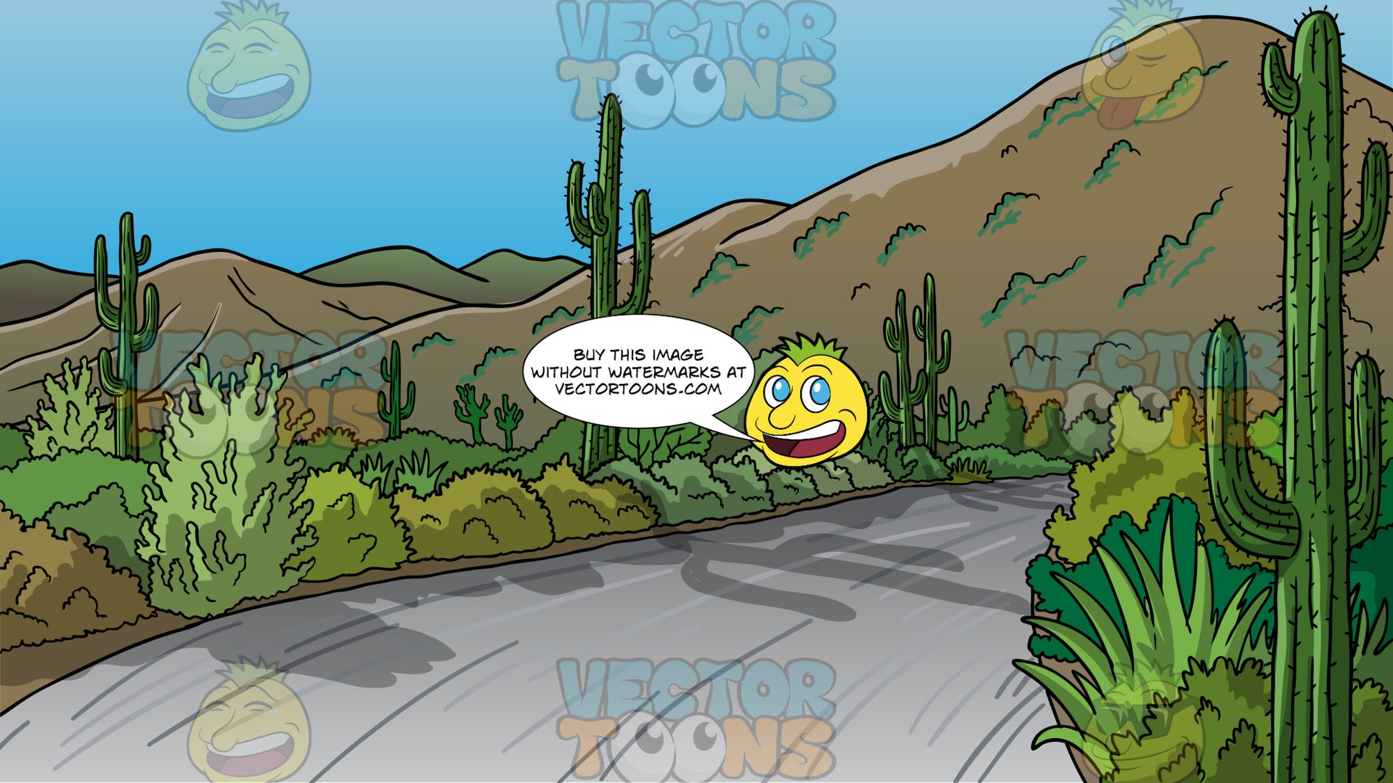 A Desert Road Lined With Cacti Background. A road in the desert lined with shrubs and cacit, and mountains in the background