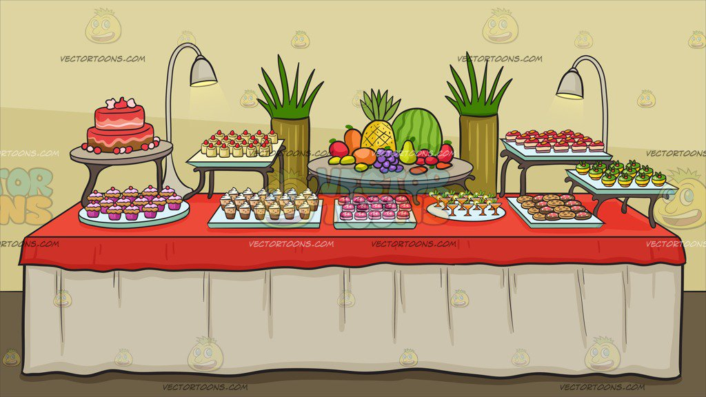 A Dessert Buffet Table Background Clipart Cartoons By