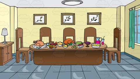 A Dining Room Table Full Of Food Background