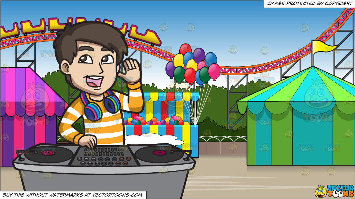 A Dj Pumping Up The Crowd And An Amusement Park With Roller Coaster Ba Clipart Cartoons By Vectortoons