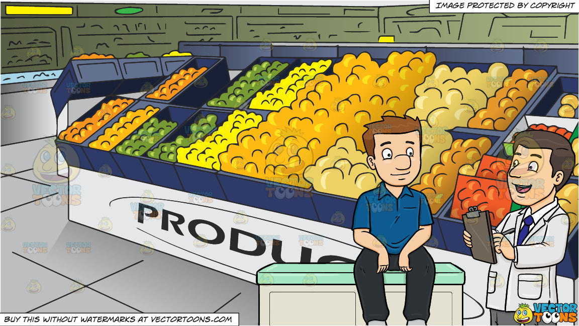 A Doctor Asking Medical Questions To His Male Patient and The Produce  Section Of A Grocery Store Background