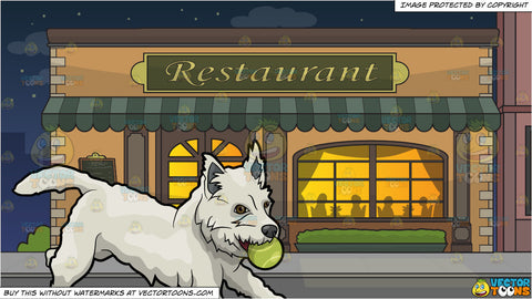 A Dog Playing With A Tennis Ball and Outside A Fancy Restaurant Background