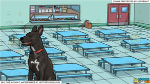 A Dog Resting And Chilling Out and A School Cafeteria Background