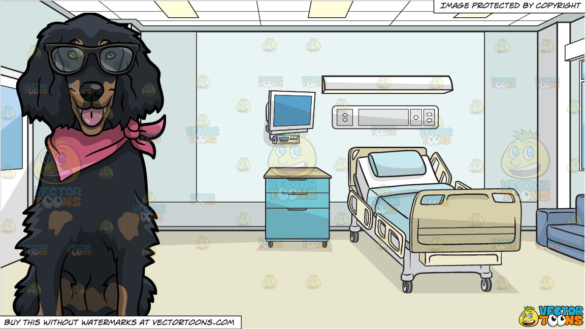 64d42a3669c2 A Dog Wearing Glasses And A Pink Handkerchief and Inside A Hospital Room  Background