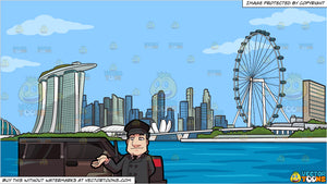 A Driver Greeting His Client Before Entering The Car and Singapore Skyline Background