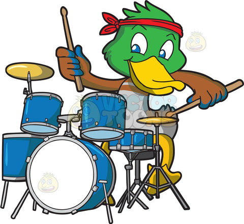 A duck playing the drums
