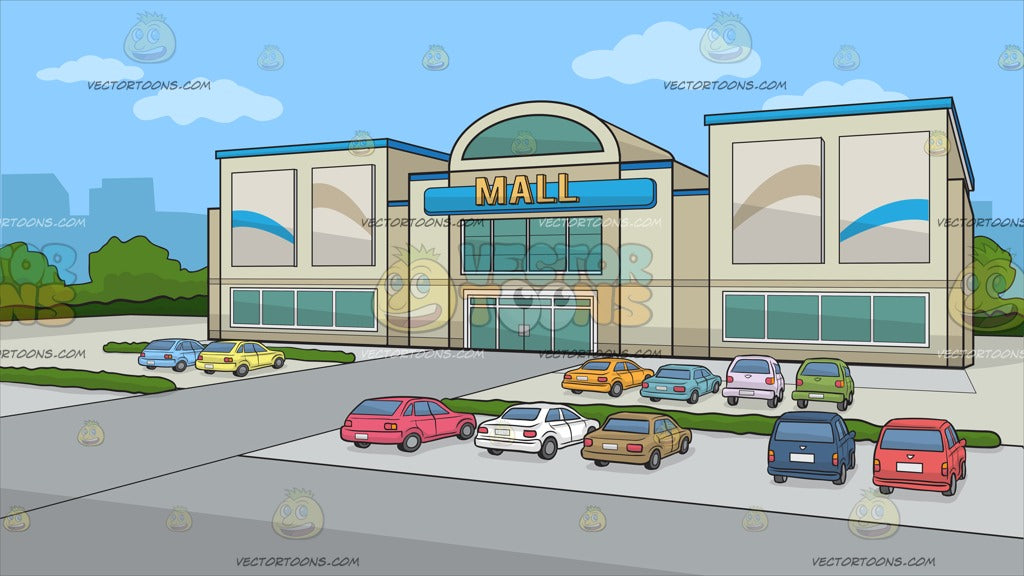 A Facade Of A Small Mall Background – Clipart Cartoons By ...