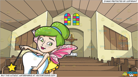 A Fairy Grabbing A Tooth and View Of The Church Altar Background
