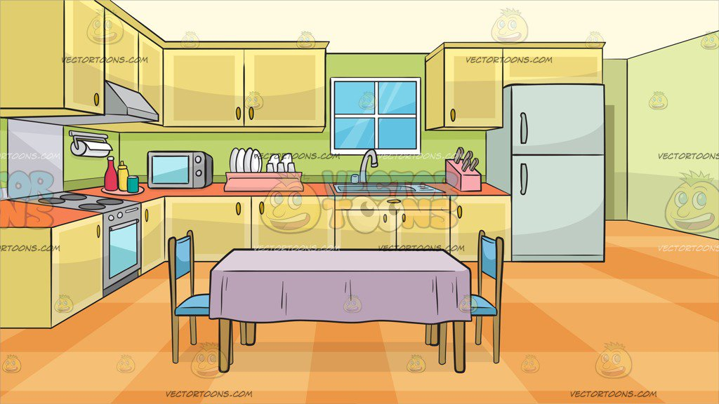 A Family Kitchen With A Dining Table And Two Chairs