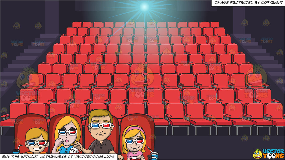 A Family Watching A Movie At A Theatre And Movie Theater Seats Backgro Clipart Cartoons By Vectortoons