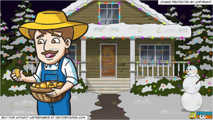House With Christmas Lights Clipart.A Farmer Harvesting Lemons And The Exterior Of A House Lit Up With Christmas Lights Background