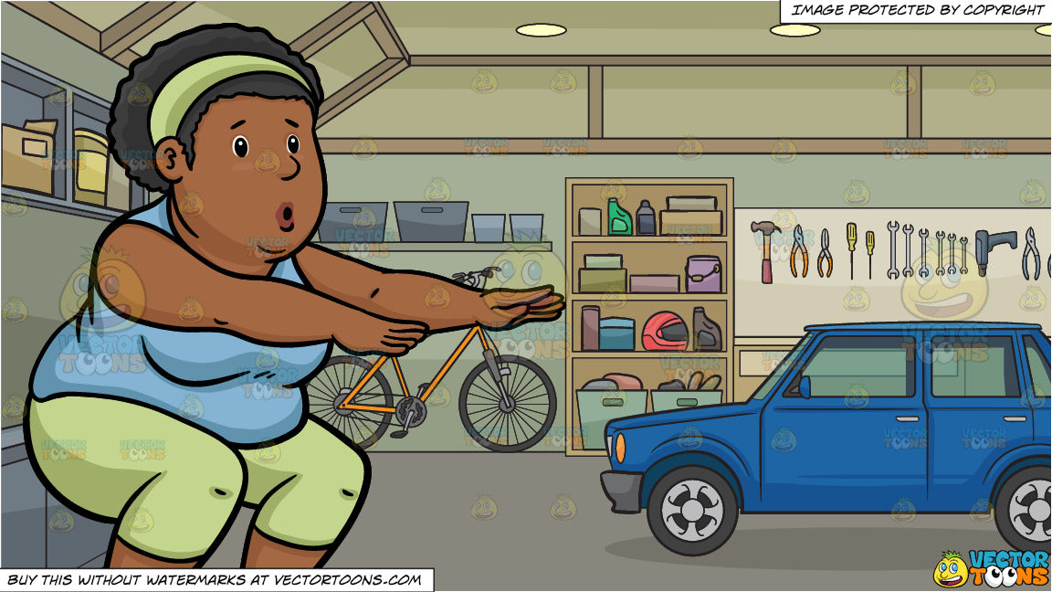 A Fat Black Woman Doing Squats and The Inside Of A Home Garage Background