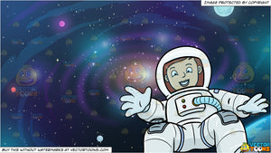 Galaxy astronaut. A female happily drifts