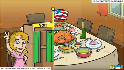 A Female Candidate Claiming Victory During The Election and A Table Set For Thanksgiving Background