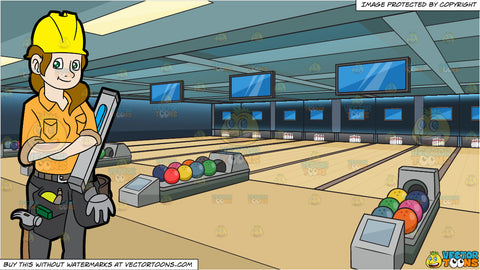 A Female Construction Worker With A Level and Bowling Alley Background