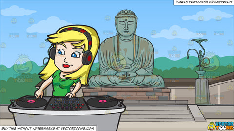 A Female Dj Spinning A Record During A Gig and Amitabha Buddha Monument Background