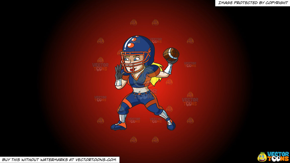 Clipart A Female Football Quarterback Passing The Ball On A Red And B Clipart Cartoons By Vectortoons