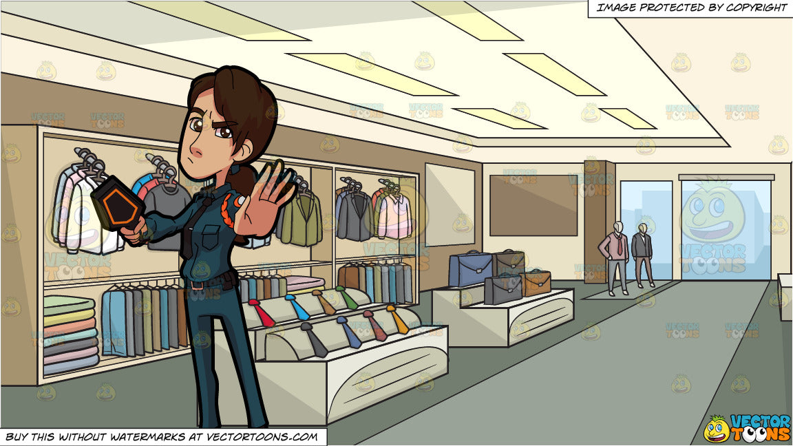 A Female Guard Stopping Someone and Inside A Clothing Shop For Men  Background