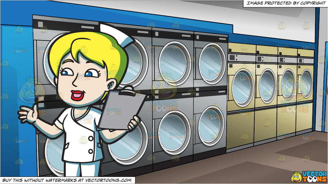 A Female Nurse With A Clipboard and Inside A Laundromat Background